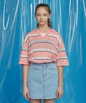 모티브스트릿(MOTIVESTREET) STRIPE SUMMER KNIT BASIC COLLAR TEE PINK