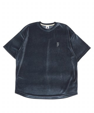 어낫띵(anothing) DROP-SHOULDER VELVET 1/2 TEE (Charcoal)