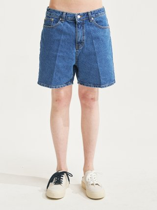 에이글로우(agloww) PINTUCK SEMI WIDE WASHING HALF JEANS BLUE