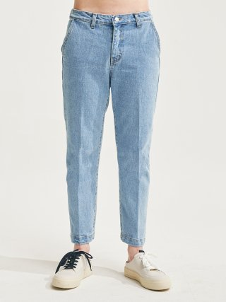 에이글로우(agloww) PINTUCK CROP SLACKS JEANS LIGHT BLUE