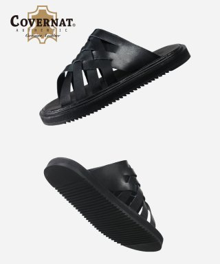 커버낫(covernat) HOBO LEATHER SLIPPERS BLACK