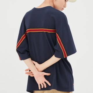 로맨틱크라운(romanticcrown) Splinter Back Line T Shirt_Navy