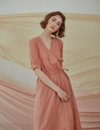 베로니카포런던(veronicaforlondon) SOFTY WRAP DRESS (ROSE PINK)