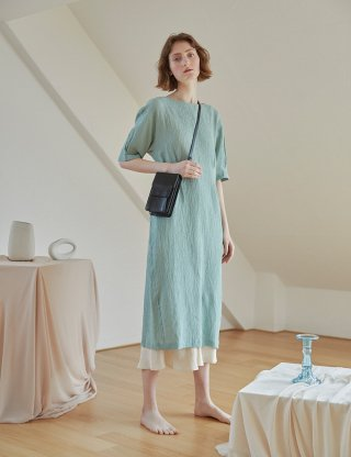 베로니카포런던(veronicaforlondon) SOFT LINEN WRINKLE DRESS (MINT)