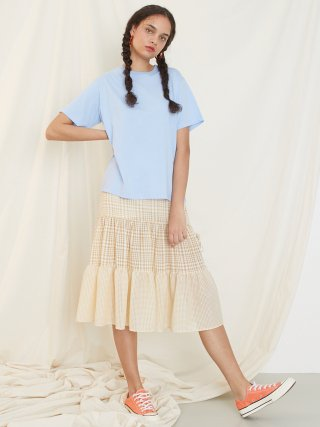 룩캐스트(lookast) YELLOW CHECK SHIRRING BANDING SKIRT