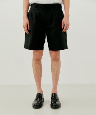 커렌트(current) TWO PLEATS SHORTS MEN [BLACK]
