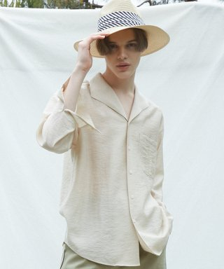 뮤게(muguet) ONE COLLAR LINEN SHIRTS (BEIGE)