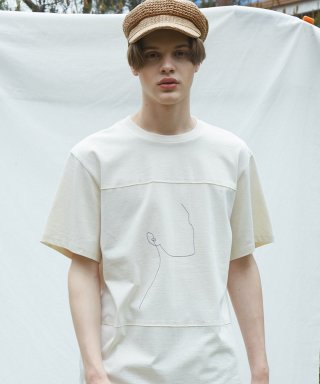 뮤게(muguet) CUT OFF DRAWING T-SHIRTS (BEIGE)