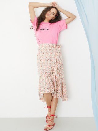 룩캐스트(lookast) PINK FLORAL WRAP SKIRT