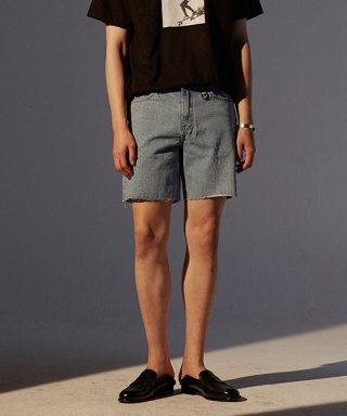 토니웩(tonywack) Musk Cutting Denim Shorts_ Light Blue