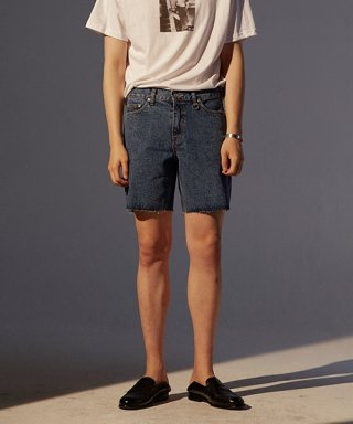 토니웩(tonywack) Musk Cutting Denim Shorts_ Mid Blue