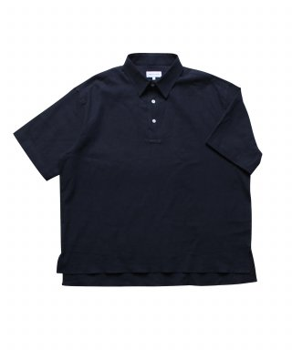 스테디 에브리웨어(steadyeverywear) Linen Half Sleeved Polo Shirts (Navy)