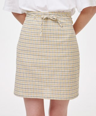 노이커먼(noycommon) RIBBON STRING SKIRT CHECK YE