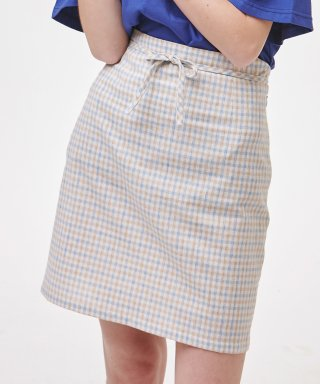노이커먼(noycommon) RIBBON STRING SKIRT CHECK BL