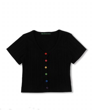 하이스쿨디스코(highschooldisco) Rainbow Crop Cardigan_black