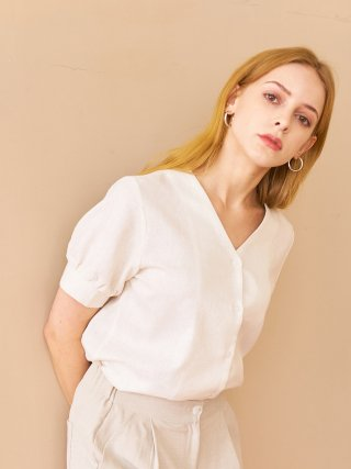 엽페(yuppe) SHIRRING SLEEVE SHIRTS_WHITE
