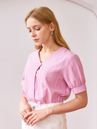 엽페(yuppe) SHIRRING SLEEVE SHIRTS_PINK