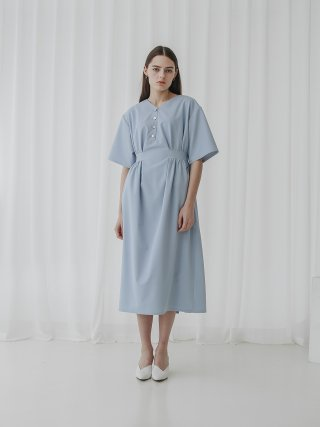 이에엣드맹(hieretdemain) 001 V-neck Summer Dress(Blue)