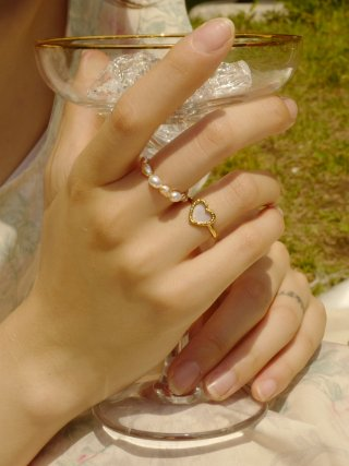 피오레(fiore) mini stone heart ring