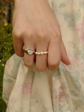 피오레(fiore) mini stone heart bold ring