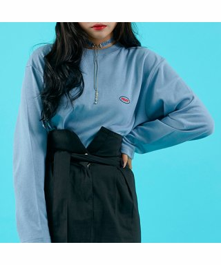 프레이(fray) OVAL LOGO LONG SLEEVE - DUST BLUE