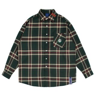 로맨틱크라운(romanticcrown) OLD CHECK WIDE SHIRT_GREEN