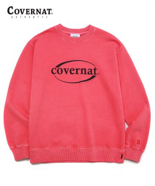 커버낫(covernat) PIGMENT DYED SERIF LOGO CREWNECK RED