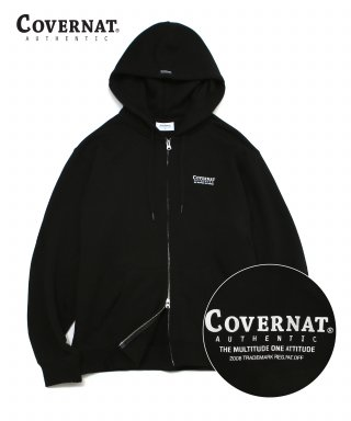 커버낫(covernat) LAYOUT LOGO HOODIE ZIP-UP BLACK