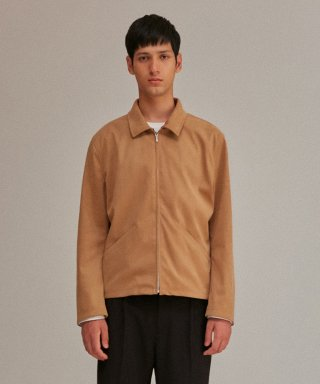 커렌트(current) MINIMAL LEATHER JACKET MEN [DARK BEIGE]