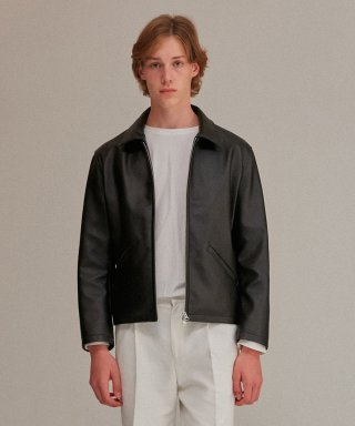 커렌트(current) MINIMAL LEATHER JACKET MEN [BLACK]