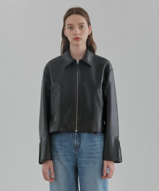 커렌트(current) SINGLE LEATHER JACKET WOMEN [BLACK]