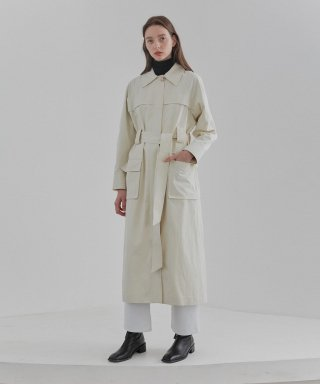 커렌트(current) POCKET TRENCH COAT WOMEN [IVORY]