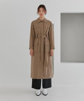 커렌트(current) POCKET TRENCH COAT WOMEN [DARK BEIGE]