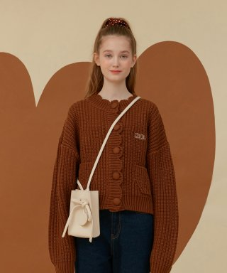 오아이오아이(oioi) ROUND CURVE PUFF CARDIGAN_brown
