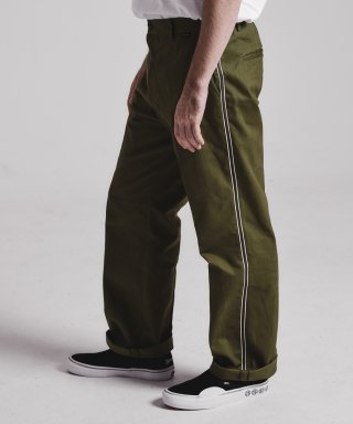 스테이지 네임(stagename) Side tape semi-wide pants_OLIVE KHAKI
