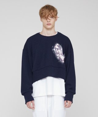 밀린(millin) [주문제작] Overfit Painting Crop Sweatshirt(Navy)