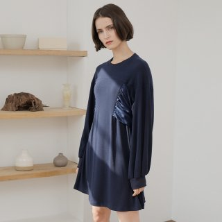 와드로브(wardrobe) SHIRRING RIBBON ONE-PIECE_NAVY
