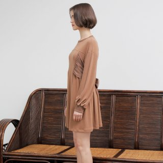 와드로브(wardrobe) SHIRRING RIBBON ONE-PIECE_BROWN