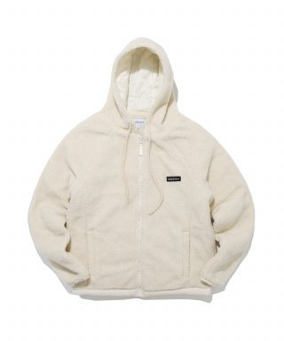 디폴트(default) LABEL HOOD ZIP-UP FLEECE(IVORY)