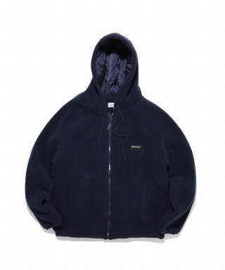 디폴트(default) LABEL HOOD ZIP-UP FLEECE(NAVY)