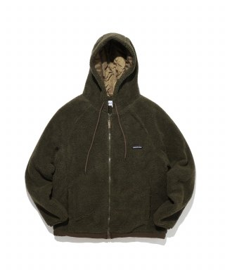 디폴트(default) LABEL HOOD ZIP-UP FLEECE(KHAKI)