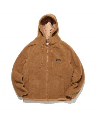 디폴트(default) LABEL HOOD ZIP-UP FLEECE(BROWN)