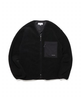 디폴트(default) LABEL POCKET ZIP-UP FLEECE(BLACK)