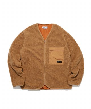 디폴트(default) LABEL POCKET ZIP-UP FLEECE(BROWN)