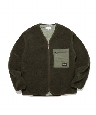 디폴트(default) LABEL POCKET ZIP-UP FLEECE(KHAKI)
