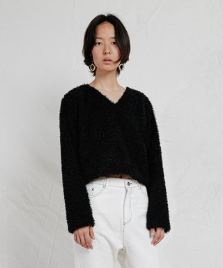 엔조 블루스(enzoblues) V NECK FAUX FUR SWEATER (BLACK)