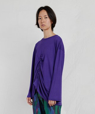 엔조 블루스(enzoblues) LONG SLEEVE SHIRRING TOP (PURPLE)