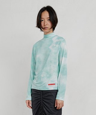 엔조 블루스(enzoblues) TIE DYE MOCK NECK TOP (MINT)
