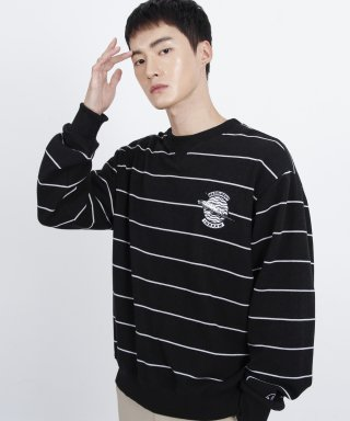 메리먼트(merriment) (유니섹스)Striped feather Logo Sweatshirt (BLACK)
