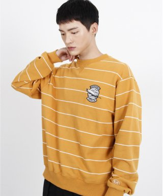 메리먼트(merriment) (유니섹스)Striped feather Logo Sweatshirt (YELLOW)